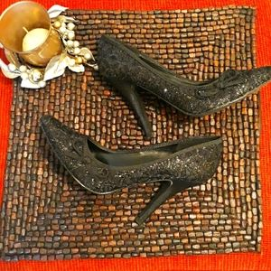 Delicious style Black glitter and lace heels